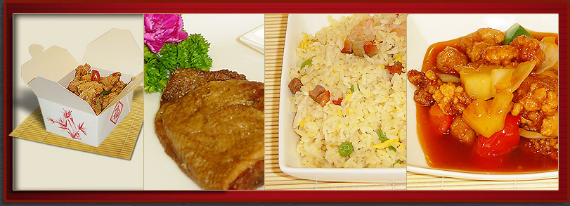 Food Hygiene certificate, aromatic duck, special fried rice, and sweet and sour chicken